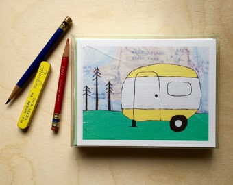 Boxed Campers Card Set // Airstream Card // Travel Cards // Blank Cards // Travel Gift // Trailer Art // Map Card // Rachel Austin Art