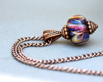 Antique Copper Lampwork Necklace, Lampwork Necklace, Purple, Magenta, Yellow and White