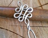 Celtic Looping Crossed Knots Aluminum Hair Fork, Shawl Pin, Bun Holder, Decorative Comb, Sticks - Long Hair Accessories, Knitting, Scarf Pin