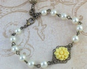 Ivory Pearl and Flower Brass Filigree Bridesmaids Bracelet Reserved