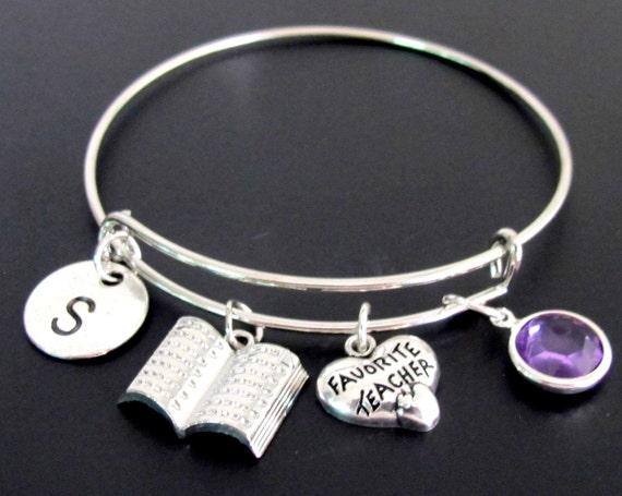 Personalize Teacher Jewelry,Favorite teacher gift,gift for teacher,personalized initial teacher bracelet,high school-,Free shipping USA