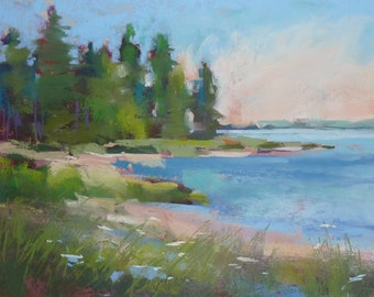 New England Summer Landscape  Original Pastel Painting Karen Margulis 6x8