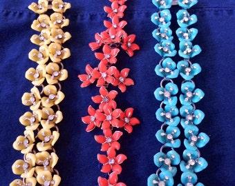 Vintage Flower Bracelet Celluliod Chunky Link Bracelet circa 1940