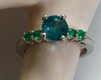 Blue Zircon and Emerald Sterling Silver Ring Size 6  Free Shipping