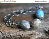 ON SALE Labradorite Nugget Necklace Sterling Silver