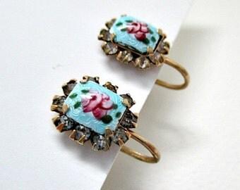 Vintage Screw Style Earrings - Guilloche Rose Earrings