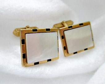Mother of Pearl Vintage Cuff Links Cufflinks - Vintage Men's Dude Jewelry Gift