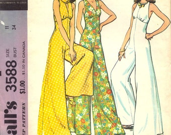 McCall's 3588 - Vintage 1970s WIDE LEG JUMPSUIT  - Sewing Pattern - Size 11 - 34 Bust