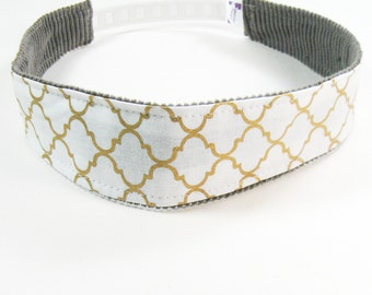 No Slip Headband - Gold Metallic Quatrefoil