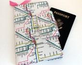 Travel or Passport Organizer Wallet Smart phone Wallet Subway Map Print