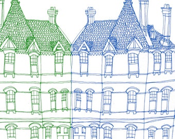 Square Greeting Card: Victorian House, Blue and Green