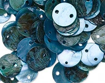 Beautiful Blue Mussel Shell 10mm Flat Round Drop Disc Beads 50pcs