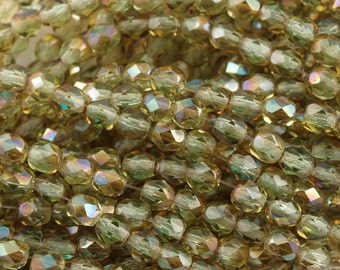 Czech Fire Polished Faceted Chrysolite Celsian Glass Round Beads 4mm 50pcs