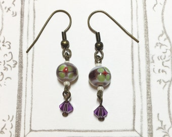 Cute Green Flower Lampwork Earrings, Dangle Earrings, Long Earrings, Purple Earrings, Antique Brass Earrings, Christmas Gift, Birthday Gift
