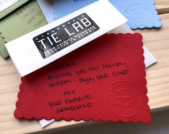 Add a handwritten note card to your order! Hand-embossed gift notecard & envelope for Cyberoptix Tie Lab purchases. Packaging upgrade.