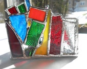Textured Stained Glass Triangle Shaped Candle Holder