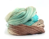 Handdyed 4ply yarn, superwash merino tencel, fingering weight sock wool, Ripples In The Sand turquoise brown cream Perran Yarns Free pattern