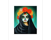 Catrina with Marigold Crown and Painted Skull Face Inspired Art Print