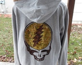 RESERVED for Lindsay Mens Upcycled Zip Up Hoodie Gray Grateful Dead Steal Your Face Hoodie OOAK Size L large Hippie clothes, hoodie,