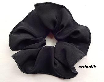 Black Silk Scrunchies, Teal Turquoise Scrunchy, Crepe Scarf Slide, Shawl Scarf Slide,  Pony Tail, Hair Accessory, Silk Hair Tie, Artinsilk.