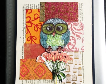 Owl Art-Owl Flowers Collage' Art-Owls-Mixed Media Collage Art-Original Owl Collage'-Flower Art Cpllage-art-home decor-wall art-girls room