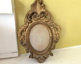 Ornate Florentine Frame / Antique Gold / Made in Hong Kong / Easel Hanger Back / OLD
