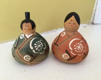 Kokeshi Couple / Marked / Round Fat Squatty / Solid Wood / Colletible