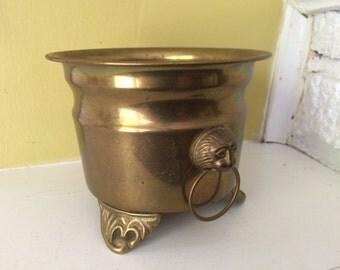 Hollywood Regency Brass Planter Pot / Lion Handles / Cauldron