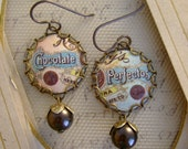 Sweetness - Vintage Hand Cut Chocolate Perfectos Tin, Bezels, Beadcaps Pearls Repurposed Jewelry Earrings - Ten Year Anniversary Gift