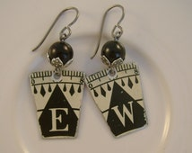 Never Lost - Antique Compass Converter Black Pearls Initials EW, WE, Niobium Upcycled Repurposed Jewelry Earrings - 10 Year Anniversary Gift