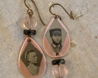 Betrothed - Antique 1870s Tintype Photographs Asymmetrical Copper Hearts Rosary Beads Niobium Wires Recycled Earrings