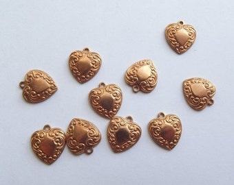 On Sale Vintage copper brass heart charms