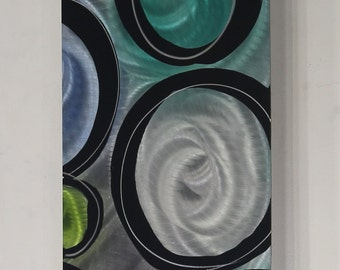 Green & Blue Contemporary Metal Wall Art Panel - One of a Kind Handmade Abstract Home Decor by Jon Allen - P-571