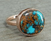 Turquoise Ring (Carmelita Mine, Nevada) in Recycled 14k Rose Gold - Ethical Gemstone, Cocktail or Right-Hand Ring - Eco-Friendly, size 6.75
