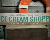 Ice Cream Shoppe Wood Sign, End Of The Boardwalk Sign, Custom Family Name Beach House Sign - Rustic Hand Made Vintage Wooden Sign ENS1001353