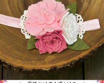 Pink/White Flower Cluster Headband or Clip, Well Dressed Wolf m2m Pink Hydrangea Dress/Bubble