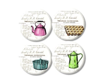Button Magnets Vintage Pots Pans 1800s bill Bright colors party favors fridge magnets set of 4 vintage kitchenware collage