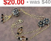 CLEARANCE SALE OOAK, Handmade,Vintage Like,  Black, Gold and Topaz Ornate, Fancy, Glittery, Gold Chain Tassel Pendant Necklace
