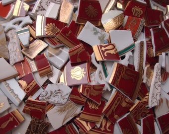 100 Mosaic Tiles Mix Broken Plate Art Hand Cut Mix Assortment Vintage Antique 22k Gold Lace Designs Mix