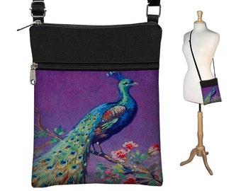Crossbody Bag, Bohemian Bag, Cross Body Purse, Purple Peacock Purse, Boho Fabric Handbags,  Small Shoulder Bag w/ zippers teal blue  RTS