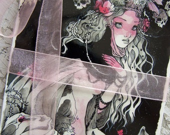 PostCard - Black Pearls  - Fairy Tale - Fantasy - Macabre - Gothic Art - Halloween - Ink Art - Art Card