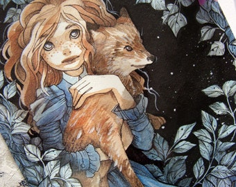 Greeting Card - The Girl and the Fox  - Folk Tale - Victorian - Children - Notecard - Art Card - Flat