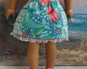 American Girl Doll Clothes Skirt Coral Queen of the Sea V1 Designer Moda Fabric