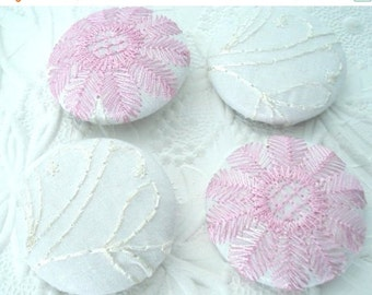 CLEARANCE Pink button, white button, size 60 inches, fabric button, embroidered button, set of 4 buttons