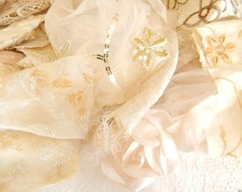 Embellished ivory fabric scraps, sequin fabric, lace fabric, embroidered fabric, crazyquilting, patchwork,applique, sewing, 6 oz bag