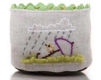 Small Linen Basket, Handmade Fabric Basket, Little Bird Hand Embroidery, Little Umbrella Rainy Day Basket, Tea Time Basket