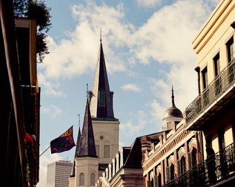 st louis cathedral and chartres street, new orleans art, architecture deocr, large living room art, office art, travel photograph