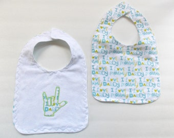 ASL I Love You Hand Baby Bib - Baby Sign Language Bib - Sign Language Baby Bib - I Love Mommy Baby Bib - Baby Bib - I love Daddy Baby Bib