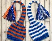 Knit TWiN Child Boy Hats PHoTO PRoP Toddler - Teen Tassel SToCKiNG CaPs Blue White Orange Beanies LoNG TAiL Coordinating Toques KiD Skater