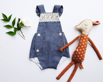 BeyaBunny UpCycled Lace + Chambray Sunsuit